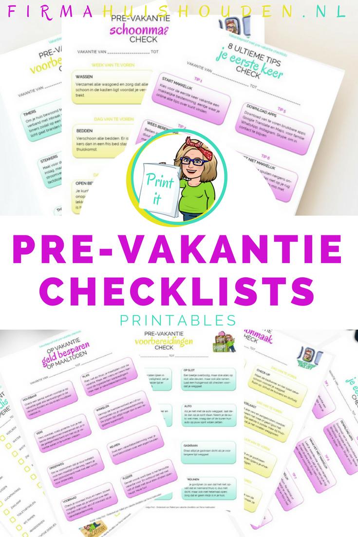 Vakantieproof met pre-vakantie checklists - printables