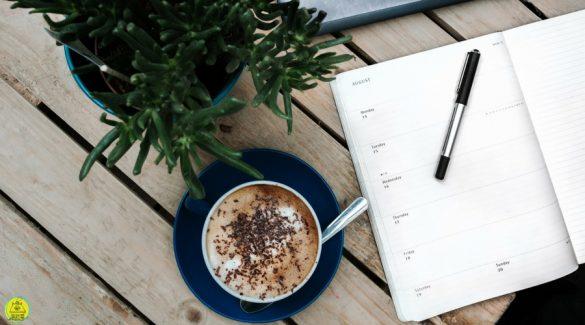 Kop en schotel met cappuccino, een plant en opengeslagen agenda met pen op tafel
