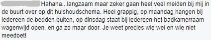Reactie van een lezer en gebruiker van het huishoudschema via Facebook