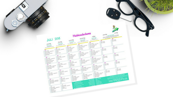 Huishoudschema & Huishoudkit juli 2018 | printable