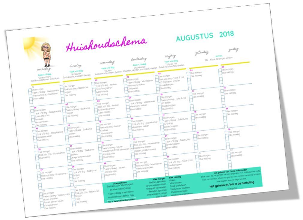Huishoudschema augustus 2018