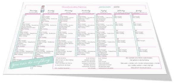 Huishoudschema januari 2019 - Gratis printable