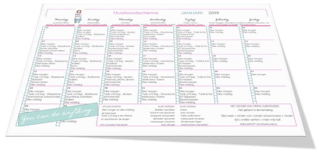Huishoudschema Januari 2019 | Gratis printable