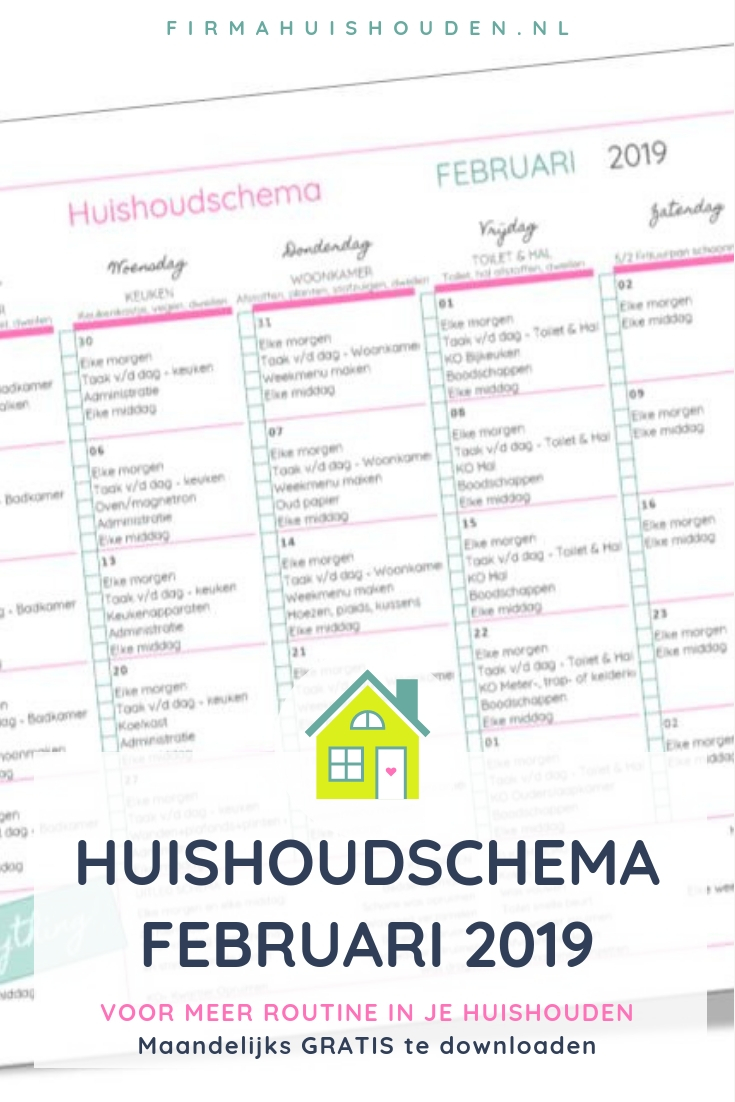 Huishoudschema februari 2019 | Gratis download