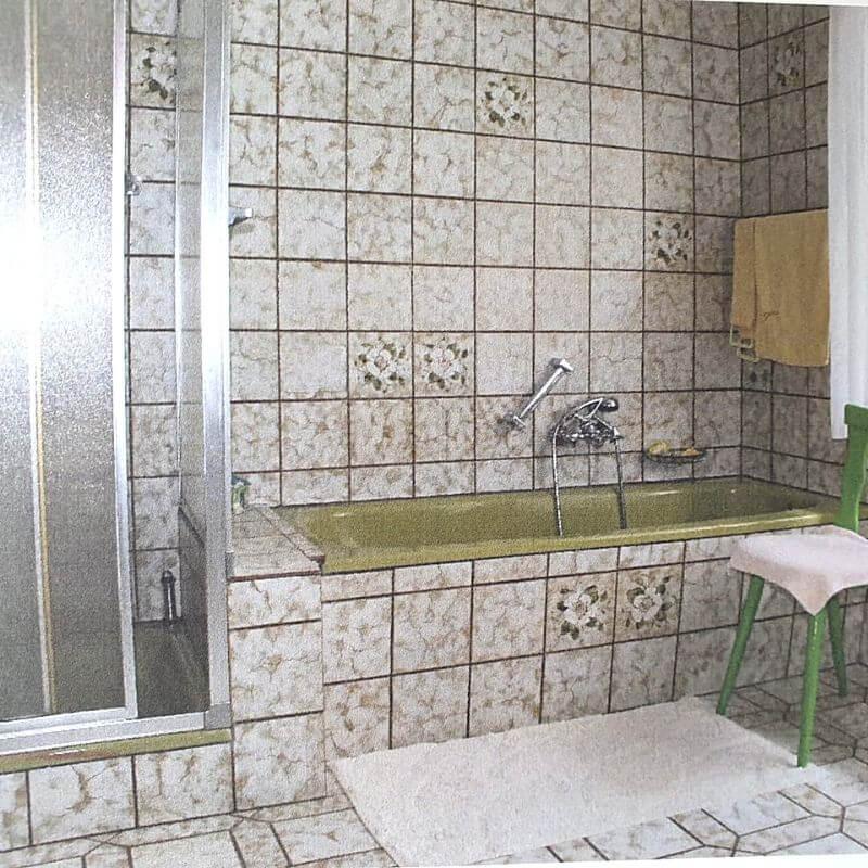 Oude badkamer, jaren 70 interieur
