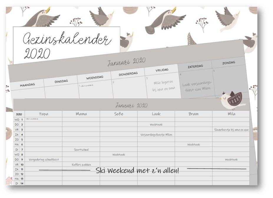 HUISHOUDPLANNER en GEZINSKALENDER 2020 nu te bestellen! 19