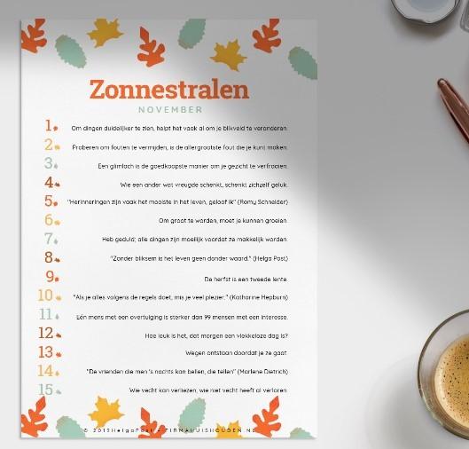 Spreuken op papier, voor elke dag in november.Zonnestralen in november